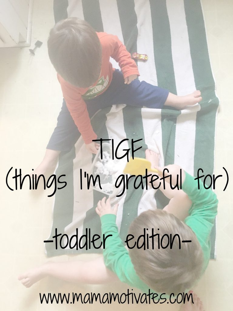TIGF (things I'm grateful for) in the season of toddler-ness